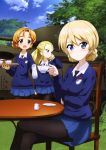 3girls :d absurdres assam black_bow black_legwear black_neckwear blonde_hair blue blue_skirt blue_sky blue_sweater blush bow brown_eyes clouds cup darjeeling day eyebrows_visible_through_hair eyes girls_und_panzer ground_vehicle hair_between_eyes hair_bow hand_in_hair highres holding holding_cup legs_crossed looking_at_viewer military military_vehicle miniskirt motor_vehicle multiple_girls necktie official_art open_mouth orange_hair orange_pekoe outdoors pantyhose pleated_skirt ponytail shiny shiny_hair shirt short_hair sitting skirt sky smile st._gloriana's_school_uniform standing sweater tank teacup tied_hair white_shirt yoshida_nobuyoshi