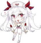1girl :d azur_lane bandage bandaged_arm bandages bangs bare_shoulders bikini_top black_bikini_top chibi choker commentary_request dress eyebrows_visible_through_hair full_body garter_straps hair hair_between_eyes hand_up hat heart index_finger_raised long_hair looking_at_viewer mkbt nurse_cap open_mouth pink_choker red_eyes red_ribbon ribbon shoes silver_hair simple_background sleeveless sleeveless_dress smile solo standing thigh-highs twintails uwabaki vampire_(azur_lane) very_long_hair white_background white_dress white_footwear white_hat white_legwear