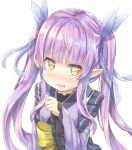 1girl absurdres bangs blush bow eyebrows_visible_through_hair fang fingernails frilled_sleeves frills hair_ribbon highres hikawa_kyoka japanese_clothes keiran_(ryo170) kimono long_hair long_sleeves looking_at_viewer nose_blush parted_lips pointy_ears princess_connect! princess_connect!_re:dive purple_hair purple_kimono purple_ribbon ribbon ribbon-trimmed_clothes ribbon_trim simple_background sleeves_past_wrists solo transparent twintails very_long_hair white_background wide_sleeves yellow_bow yellow_eyes