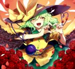 1girl black_hat bow commentary_request eyeball flower frilled_sleeves frills fuuga_(perv_rsity) green_hair hair_between_eyes hat hat_bow hat_ribbon heart heart_hands heart_of_string highres komeiji_koishi long_hair looking_at_viewer one_eye_closed open_mouth petals red_flower red_rose ribbon rose short_sleeves solo third_eye touhou yellow_bow yellow_eyes yellow_ribbon