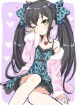 1girl ;( alternate_costume amezawa_koma animal_print aqua_bow aqua_dress arm_support black_frills black_hair bow commentary_request dress frilled_dress frills hair_bow highres idolmaster idolmaster_cinderella_girls jacket leopard_print long_hair matoba_risa nail_polish off_shoulder open_clothes open_jacket pink_jacket print_bow print_dress rubbing_eyes sitting solo twintails very_long_hair yellow_eyes yellow_nails