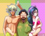 1girl 2boys :d abs arm_around_waist bikini black_hair blonde_hair breasts charaleet_(precure) cleavage daigan_(precure) earrings facial_hair glasses green_eyes hand_up hawaiian_shirt hoop_earrings hugtto!_precure jewelry lipstick looking_at_viewer makeup male_swimwear multicolored_hair multiple_boys open_mouth papple_(precure) pink_bikini pink_hair polka_dot polka_dot_background ponytail precure shara-soju shirt smile standing sunglasses swim_trunks swimsuit swimwear two-tone_hair yellow_swimsuit