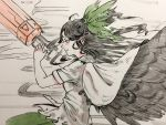 1girl arm_cannon bangs bird_wings black_hair black_wings bow ear facing_to_the_side frilled_shirt frills green_bow green_skirt hair_bow long_hair misohagi reiuji_utsuho shirt short_sleeves skirt solo touhou upper_body weapon white_shirt wings