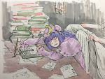 1girl bangs blue_ribbon blush book crescent crescent_hair_ornament fountain_pen frilled_sleeves frills hair_ornament hat holding holding_pen indoors ink_bottle light_bulb long_hair long_sleeves misohagi mob_cap open_mouth paper patchouli_knowledge pen purple_hair ribbon sitting sleeping table touhou writing