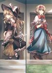 2girls alice_margatroid apron bow bowtie braid broom capelet comic cover cover_page doujin_cover dress hat hat_bow headband highres kirisame_marisa long_hair mitsunara multiple_girls short_hair short_sleeves single_braid touhou waist_apron waist_bow witch_hat