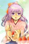105mitsugi 1girl alternate_costume alternate_hairstyle blue_background blush bow breasts cake eyebrows_visible_through_hair food fruit gintama glasses hair_bow high_ponytail holding holding_spoon japanese_clothes kimono long_hair open_mouth orange_bow ponytail purple_hair red-framed_eyewear sarutobi_ayame solo spoon strawberry strawberry_shortcake violet_eyes
