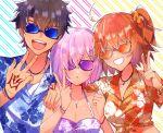 0wsaa0 1boy 2girls command_spell fate/grand_order fate_(series) fujimaru_ritsuka_(female) fujimaru_ritsuka_(male) hawaiian_shirt highres mash_kyrielight multiple_girls open_mouth shirt sunglasses upper_body