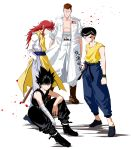 4boys bandage bandaged_arm bandages bare_chest black_hair brown_hair closed_mouth coat delinquent full_body hands_in_pockets hiei_(yuu_yuu_hakusho) highres kurama kuwabara_kazuma long_hair looking_at_viewer male_focus multiple_boys official_style open_clothes open_coat petals pompadour redhead sarashi simple_background sleeveless spiky_hair sunburst urameshi_yuusuke white_background yuu_yuu_hakusho