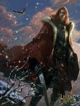 1boy armor armored_boots artist_name bird boots cape clouds copyright_name crowgod eagle fur_trim highres legend_of_the_cryptids long_hair male_focus official_art orange_hair rock sky snow snowing solo sword weapon