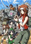 5girls akiyama_yukari anglerfish artist_request backpack bag bandanna baseball_cap belt black_hair breasts brown_eyes brown_hair caterpillar_tracks cosplay dog_tags explosion explosive fio_germi fio_germi_(cosplay) girls_und_panzer glasses grenade grey_eyes ground_vehicle gun hairband handgun hat highres isuzu_hana kasamoto_eri kasamoto_eri_(cosplay) knee_pads machine_pistol marco_rossi marco_rossi_(cosplay) metal_slug military military_vehicle mittens motor_vehicle multiple_girls nadia_cassel nadia_cassel_(cosplay) nishizumi_miho orange_hair pants ponytail reizei_mako revolver short_hair shorts shotgun sleeveless smoke sunglasses sv001_(metal_slug) takebe_saori tank tarma_roving tarma_roving_(cosplay) trigger_discipline twintails vest weapon wristband