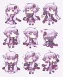 1girl :o :t ahoge bangs black_jacket chibi dress eyebrows_visible_through_hair highres hood hood_down hooded_jacket jacket long_hair long_sleeves low_twintails motion_lines no_nose open_clothes open_jacket open_mouth purple_dress purple_hair purple_legwear shigetake_(buroira) silhouette simple_background sleeves_past_fingers sleeves_past_wrists smile solo squiggle sweatdrop thigh-highs trembling triangle_mouth twintails violet_eyes vocaloid voiceroid white_background yuzuki_yukari zettai_ryouiki