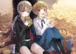 2girls against_tree ahoge artoria_pendragon_(all) basket black_jacket black_legwear black_ribbon black_shirt black_shorts blonde_hair blue_ribbon blue_skirt blush collarbone copyright_name day eyebrows_visible_through_hair fate/stay_night fate_(series) food green_eyes hair_ribbon hamburger highres holding holding_food hood hooded_jacket jacket jewelry long_skirt multiple_girls neck_ribbon necklace open_clothes open_jacket open_mouth outdoors ponytail ranmaruuuu00 ribbon saber saber_alter sandwich shirt short_hair short_shorts shorts sidelocks sitting skirt tree white_shirt yellow_eyes