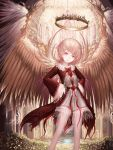 1girl angel angel_wings arch brown_eyes feathered_wings flower halo hands_on_hips highres indoors light_brown_hair looking_at_viewer original red_eyes rinmmo rose skirt smile standing white_skirt white_wings wide_sleeves wings