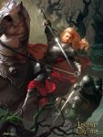 1boy armor armored_boots artist_name boots cape copyright_name crowgod faceless faceless_male gloves helmet highres horse horseback_riding legend_of_the_cryptids long_hair male_focus official_art open_mouth orange_hair riding solo sword tree weapon