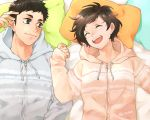 1boy 1girl :d aotama black_hair brown_hair closed_eyes haikyuu!! hand_up hetero hood hoodie looking_at_another lying michimiya_yui on_back open_mouth pillow sawamura_daichi short_hair smile twitter_username zipper