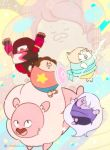 1boy 4others :d :o aa2233a amethyst_(steven_universe) arms_up artist_name brown_hair chibi closed_eyes forehead_jewel garnet_(steven_universe) gem goggles lion lion_(steven_universe) long_hair multiple_others open_mouth pearl_(steven_universe) pink_hair polearm purple_skin red_skin rose_quartz_universe shield smile spear star steven_quartz_universe steven_universe watermark weapon white_hair