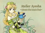 1girl atelier_(series) atelier_ayesha ayesha_altugle blonde_hair brown_eyes creature detached_sleeves dress flower green_background hair_flower hair_ornament hat long_hair payot smile solo suzumo70 title_drop