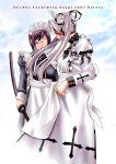 asagi_yoshimitsu black_hair cropped eyepatch glasses katana maid md5_mismatch multiple_girls original sword twintails weapon white_hair