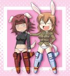 animal_ears bunny_ears charlotte_e_yeager code_geass crossover dog_ears dog_tail headband kallen_stadtfeld koshimizu_ami long_hair o_o orange_hair panties rabbit_ears red_hair redhead seiyuu_connection seiyuu_joke short_hair strike_witches striker_unit sweatdrop tail underwear