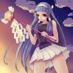 blue_hair blunt_bangs hair_tubes hairband kannagi kunishige_keiichi long_hair nagi purple_eyes skirt star stars violet_eyes wand