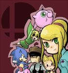 blonde_hair brown_hair gloves green_eyes headband jigglypuff kirby kirby_(series) link lowres lucas metal_gear_solid metroid mother_(game) mother_3 nintendo pokemon ponytail samus_aran smile solid_snake sonic sonic_the_hedgehog super_smash_bros. the_legend_of_zelda toon_link zero_suit