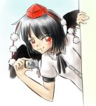 black_wings camera hat imageboard_colors lowres meme parody peeking_out red_eyes shameimaru_aya thatgoddamncat touhou wings
