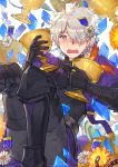 1boy black_gloves blush boots capelet crystal fate/grand_order fate_(series) galahad_(fate) gloves grail grand_dobu hair_over_one_eye highres looking_at_viewer male_focus medal open_mouth silver_hair simple_background sitting solo sweatdrop white_background yellow_eyes