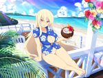1girl :d arm_support barefoot beach bikini_bottom blonde_hair blue_shirt breasts cocktail coconut day drinking_straw flower hawaiian_shirt hibiscus large_breasts leo_(senran_kagura) long_hair looking_at_viewer ocean official_art open_mouth senran_kagura senran_kagura_new_link shirt sitting smile solo very_long_hair violet_eyes water yaegashi_nan
