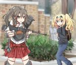 assault_rifle backpack bag battle_rifle blonde_hair blue_eyes bush cyberdemon_no3 denim flight_deck gambier_bay_(kantai_collection) gun hairband hakama_skirt japanese_clothes jeans kantai_collection long_hair muneate pants ribbon rifle sweater twintails wallgloves weapon white_ribbon zuikaku_(kantai_collection)