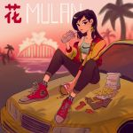 1girl absurdres artist_request bag car disney drinking_straw earrings fa_mulan_(disney) food french_fries ground_vehicle hamburger highres jacket jewelry motor_vehicle mulan nike palm_tree paper_bag shoes sneakers soft_drink sun sunset tree wreck-it_ralph