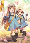 /\/\/\ 2girls :o absurdres arm_up backwards_hat bag bangs baseball_cap black_footwear blue_dress blunt_bangs blush boots brown_eyes brown_hair character_name character_request checkered child dress eyebrows_visible_through_hair flag full_body hair_between_eyes hand_holding hat hataraku_saibou highres holding holding_flag kazeo-yuurin knee_boots light_brown_hair long_hair looking_at_viewer motion_blur multiple_girls open_mouth petals platelet_(hataraku_saibou) rubber_boots running shadow shiny shiny_hair short_hair short_sleeves shorts shorts_under_dress shoulder_bag stone_floor very_long_hair white_hat white_shorts