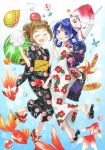 2girls :d ^_^ basket black_kimono blue_hair blue_nails bracelet candy_apple closed_eyes closed_eyes commentary_request cotton_candy double_bun fan fang fish floral_print food fox_mask goldfish hair_rings high_five holding holding_food japanese_clothes jewelry kimono looking_at_viewer mask mask_on_head multiple_girls nail_polish nekozuki_yuki obi open_mouth original paper_fan sandals sash shaved_ice shoe_dangle sidelocks smile toenail_polish uchiwa violet_eyes water_yoyo white_kimono wide_sleeves yellow_nails yukata