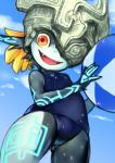 :d ball beachball black_skin blue_skin helmet imp midna multicolored multicolored_skin old_school_swimsuit one_eye_covered open_mouth pointy_ears school_swimsuit smile swimsuit the_legend_of_zelda the_legend_of_zelda:_twilight_princess two-tone_skin yellow_sclera