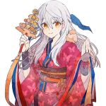 1girl animal animal_on_shoulder animal_print bell bird bird_on_shoulder bracelet butterfly_print closed_eyes fire_emblem fire_emblem:_akatsuki_no_megami fire_emblem_heroes japanese_clothes jewelry jingle_bell kagura_suzu kimono long_hair micaiah obi sash shourou_kanna silver_hair simple_background smile solo white_background wide_sleeves yellow_eyes yukata yune
