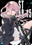 1girl ar-15 black_background blue_eyes character_name eyebrows_visible_through_hair fingerless_gloves from_behind girls_frontline gloves gradient_hair gun hair_ornament long_hair looking_at_viewer multicolored_hair noy one_side_up parted_lips pink_hair purple_hair rifle school_uniform side_ponytail sidelocks single_thighhigh sitting solo st_ar-15_(girls_frontline) streaked_hair thigh-highs thigh_strap weapon