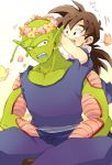 2boys :d annoyed black_eyes black_hair bug butterfly chikiko_(chiki2424) dragon_ball dragonball_z embarrassed flower happy head_wreath insect long_hair looking_at_another looking_back male_focus multiple_boys open_mouth piccolo pink_flower pointy_ears shirt simple_background sitting sleeveless sleeveless_shirt smile son_gohan sweatdrop teeth white_background yellow_flower