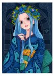 1girl alternate_costume aqua_flower blue_flower blue_hair blue_kimono female flower head_tilt head_wreath highres japanese_clothes kimono leaf lips lipstick long_hair makeup nefertari_vivi obi one_piece parted_lips portrait sash sherumaru_(korcht06) signature solo wide_sleeves