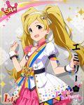 blonde_hair blush dress emily_stuart idolmaster idolmaster_million_live! idolmaster_million_live!_theater_days long_hair smile twintails violet_eyes