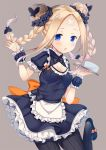 1girl :p abigail_williams_(fate/grand_order) alternate_hairstyle apron bandaid bandaid_on_face bandaid_on_forehead black_footwear black_legwear blonde_hair blue_eyes blush bow braid breasts butterfly_hair_ornament cleavage cleavage_cutout commentary_request cup double_bun dress earrings fate/grand_order fate_(series) frilled_apron frilled_dress frills grey_background hair_ornament hair_scrunchie highres holding holding_tray jewelry ko_yu leg_up long_hair looking_at_viewer maid orange_bow pantyhose polka_dot polka_dot_bow scrunchie shoes short_sleeves sidelocks simple_background small_breasts solo standing standing_on_one_leg striped striped_legwear tongue tongue_out tray twin_braids twintails vertical-striped_legwear vertical_stripes wrist_cuffs