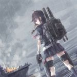 1girl black_gloves black_legwear black_shirt black_skirt braid brown_hair clouds cloudy_sky fingerless_gloves gloves hair_between_eyes hair_ribbon kantai_collection kneehighs long_hair miniskirt outdoors pleated_skirt rain red_ribbon ribbon shigure_(kantai_collection) shirt short_sleeves single_braid sketch skirt sky solo yomi_(yomi14_pyaon)