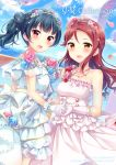 2girls :d black_hair blue_flower blue_rose blue_sky blush bouquet brown_eyes brown_hair collarbone diadem dress floating_hair flower gloves grey_ribbon hair_between_eyes hair_flower hair_ornament hand_holding hazuki_(sutasuta) highres jewelry layered_dress long_dress long_hair looking_at_viewer love_live! love_live!_sunshine!! multiple_girls necklace open_mouth petals pink_flower pink_rose red_eyes red_flower red_rose rose sakurauchi_riko side_ponytail sky sleeveless sleeveless_dress smile standing strapless strapless_dress tsushima_yoshiko wedding_dress white_dress white_gloves