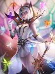 1girl breasts dress elbow_gloves elementalist_lux fairy gloves highres league_of_legends light_elementalist_lux luxanna_crownguard medium_breasts miniskirt pink_eyes skirt stained_glass tagme wand white_dress white_hair zarory
