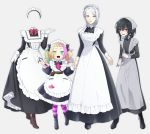 4girls apron bags_under_eyes belt black_hair blonde_hair fangs gloves goshi-san grey_background grey_eyes hammer head_scarf heterochromia highres invisible maid maid_apron maid_headdress multicolored_hair multiple_girls original red_eyes silver_hair striped striped_legwear wrench