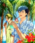 2boys akke alternate_costume black_hair blue_eyes blue_hair coconut_tree collared_shirt cup dappled_sunlight drink drinking_glass drinking_straw eating fire_emblem fire_emblem_echoes:_mou_hitori_no_eiyuuou floral_print flower food force_(fire_emblem) green_eyes green_hair hawaiian_shirt hibiscus holding holding_drinking_glass hurricane_glass ice_cream ice_cream_cone leaf looking_at_viewer looking_away male_focus multicolored_hair multiple_boys ocean open_mouth outdoors paison palm_tree partially_unbuttoned pineapple_slice plant shirt short_sleeves sunlight teeth tree tropical_drink two-tone_hair upper_body waffle_cone water