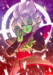 1boy chinese_clothes cowboy_shot dougi dragon_ball dragon_ball_super earrings evil_smile fighting_stance fire fused_zamasu gradient gradient_background green_skin half-closed_eyes highres jewelry long_sleeves looking_at_viewer male_focus pointy_ears potara_earrings shaded_face short_hair smile sparks spiky_hair tetsuyo upper_body white_hair