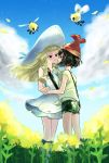 2girls bangs beanie black_hair blonde_hair blue_sky blush clouds couple creatures_(company) cutiefly dress eye_contact face-to-face game_freak gen_7_pokemon green_eyes green_shorts grey_eyes hand_holding hat highres imminent_kiss incoming_kiss leaning_forward lillie_(pokemon) long_hair looking_at_another minapo mizuki_(pokemon) multiple_girls nintendo petals pokemon pokemon_(game) pokemon_sm shirt short_hair shorts sky smile tied_shirt undershirt upper_body white_dress white_footwear white_hat wind yellow_petals yuri