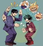 2boys all_might antenna_hair black_hair blue_eyes blue_suit boku_no_hero_academia circle clenched_hands formal freckles gesture glasses green_background green_hair iida_tenya male_focus midoriya_izuku multiple_boys opaque_glasses red_suit sparkle spoken_character squatting suit younger