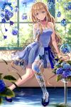1girl absurdres anko_kinako blonde_hair blue_dress blue_eyes brown_hair bug butterfly dress earrings flower highres hydrangea insect jewelry leaf long_hair original parted_lips pixiv prosthesis ribbon tagme window