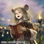 1girl animal_ears book braid brown_eyes chrono_regalia holding holding_book kageco light_brown_hair looking_afar low_braid mouse_ears music official_art open_book open_mouth outdoors singing sky solo torch upper_body wide_sleeves