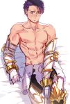 1boy abs absurdres arm_support armored_boots blush boots collarbone fate/grand_order fate_(series) gauntlets grand_dobu highres lancelot_(fate/grand_order) looking_away lying male_focus navel nipples on_bed purple_hair simple_background solo sweat toned toned_male white_background